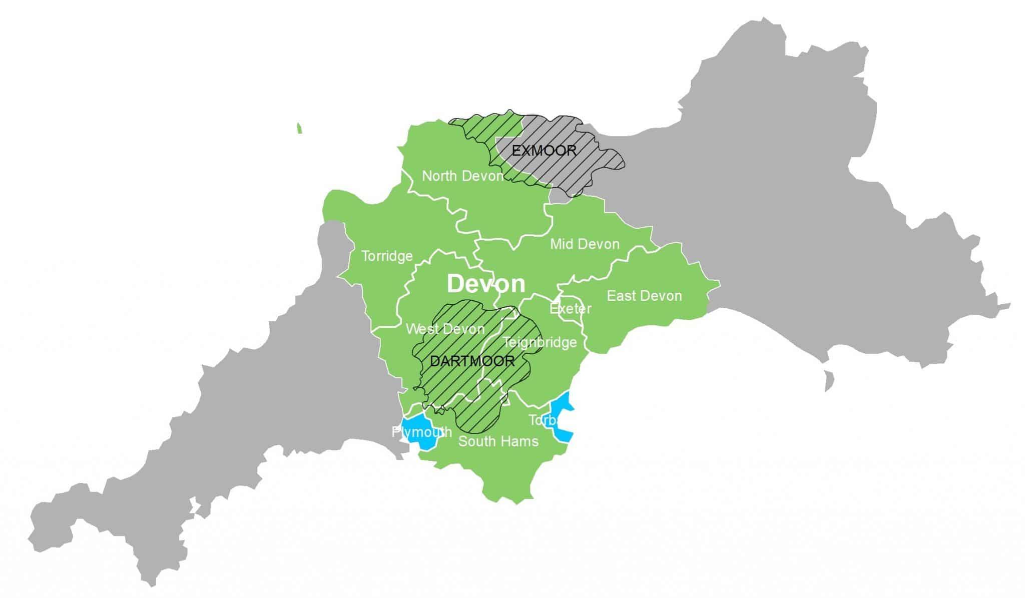 Outline map of devon areas including North, Torridge, Mid Devon, West Devon, East Devon, Exeter, West devon, Teignbridge, South Hams, Dartmoor and Exmoor